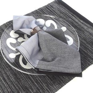 Black Gray Placemat and Napkin, Set of Two